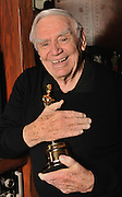 "Ernest Borgnine with the Oscar he won for ""Marty."" Borgnine will be honored with a Screen Actors Guild Lifetime Acheivement Award on January 30. Beverly Hills, CA 1-21-2011. (John McCoy/staff photographer)"