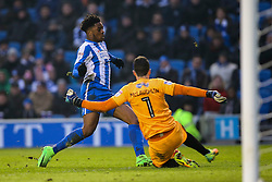Jon McLaughlin of Burton Albion tackles Chuba Akpom of Brighton & Hove Albion - Mandatory by-line: Jason Brown/JMP - 11/02/2017 - FOOTBALL - Amex Stadium - Brighton, England - Brighton and Hove Albion v Burton Albion - Sky Bet Championship