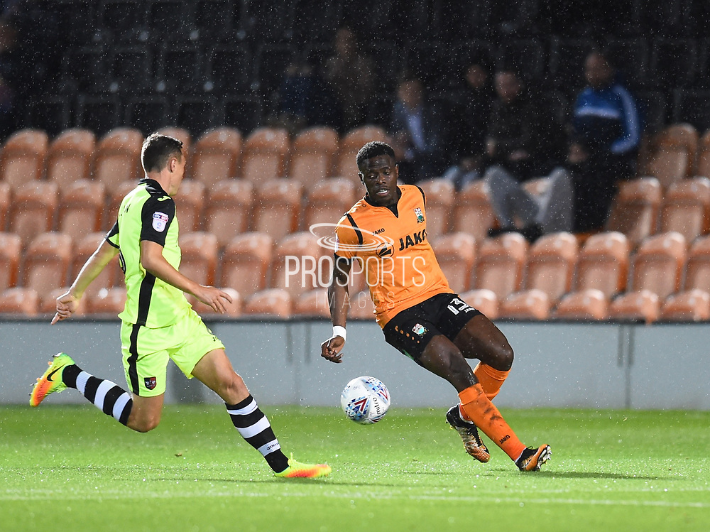 Barnet player David Tutonda looks for space in the first half during the EFL Sky Bet League 2 match between Barnet and Exeter City at Underhill Stadium, London, England on 12 September 2017. Photo by Ian  Muir.