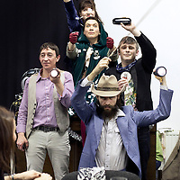 Picture shows :  Annie Grace (at back), Melody Grove ( Prudencia Hart ) gloves, Alasdair Macrae ( with hat ), Paul McCole (holding glasses box)  and David McKay (waistcoat) ..'The Strange Undoing of Prudencia Hart', is a storytelling show based on the Border Ballads, a quirky, boisterous show in the Scottish Folk tradition.  A National Theatre of Scotland production.  .Picture © Drew Farrell. Tel 07721-735041...Cast:  Annie Grace, Melody Grove (( Prudencia Hart), Alasdair Macrae, Paul McCole and David McKay ....Created by Wils Wilson and David Greig. .Directed by Wils Wilson. Designer Georgina McGuiness, and Composer Alasdair Macrae....THE STRANGE UNDOING OF PRUDENCIA HART.THE NATIONAL THEATRE OF SCOTLAND'S AWARD-WINNING SHOW .TOURING INTERNATIONALLY 2013 TO THE UNITED STATES OF AMERICA, CANADA AND AUSTRALASIA...Supported by the Scottish Government International Touring Fund....Press contacts:.Liz Smith - Publicist, The Strange Undoing of Prudencia Hart daisy.ben@live.co.uk .T:  0141 423 4373 M: 07971 417210.Emma Schad - Press Manager, emma.schad@nationaltheatrescotland.com.T: 0141 226 9016 M: 07930 308018 ..INTERNATIONAL TOUR DATES 2013..University Musical Society, Corner Brewery, Ann Arbor, Michigan USA (8 to 12 January).www.ums.org..Fusebox Festival, University of Texas, Austin, Texas USA (16 to 19 January).www.fuseboxfestival.com.Supported by Benromach Single Malt Whisky ..Vanderhoef Studio Theatre, Mondavi Center, Davis, California USA   (23 to 26 January).www.mondaviarts.org..Supported by Benromach Single Malt Whisky ..PuSh International Arts Festival & The Cultch, WISE Hall, Vancouver BC CANADA (29 January to 2 February). www.pushfestival.ca  www.theclutch.com..Perth Theatre Festival, Little Creatures Loft, Fremantle, AUSTRALIA (12 to 24 February).www.perthfestival.co.au..Adelaide Festival, The German Club, 223 Flanders Street, Adelaide AUSTRALIA (1 to 9 March).www.adelaidefestival.com.au..Auckland Arts Festival, The Bluestone Roo