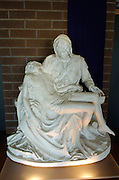 A replica of Michelangelo's Pieta rests at the entrance of Our Lady of Sorrows Church.<br />