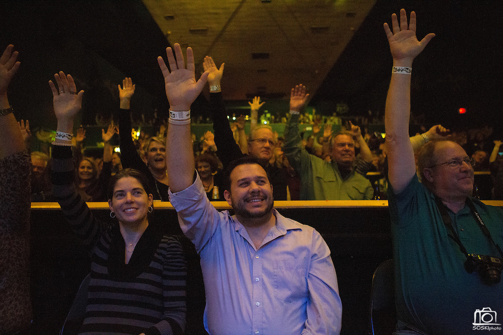 Fans raise their hands as Lucky Peterson headlines at the Granada Theater in Dallas, Texas, on January 11, 2013.  (Stan Olszewski/The Dallas Morning News)
