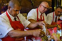 HAVANA, CUBA - CIRCA MARCH 2017:  Barman preparing daiquiri at El Floridita, a landmark and popular tourist attraction in Havana.