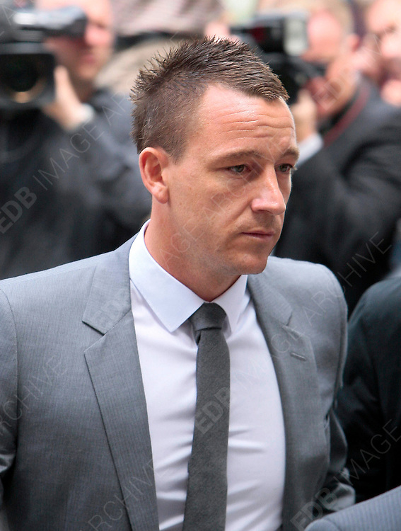 13.JULY.2012. LONDON<br /> <br /> JOHN TERRY LEAVES COURT AFTER BEING CLEARED OF RACIALLY ABUSING ANTON FERDINAND<br /> <br /> BYLINE: EDBIMAGEARCHIVE.CO.UK<br /> <br /> *THIS IMAGE IS STRICTLY FOR UK NEWSPAPERS AND MAGAZINES ONLY*<br /> *FOR WORLD WIDE SALES AND WEB USE PLEASE CONTACT EDBIMAGEARCHIVE - 0208 954 5968*