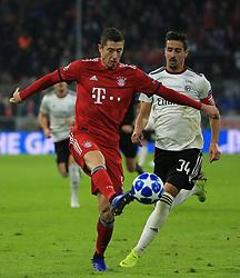 27.11.2018, Champions League  Saison 2018/ 2019, . Bayern vs Benfica Lissabon, Allianz Arena, Muenchen, Sport, im Bild:..Robert Lewandowski (FCB) vs Andre Almeida ( Benfica)..DFL REGULATIONS PROHIBIT ANY USE OF PHOTOGRAPHS AS IMAGE SEQUENCES AND / OR QUASI VIDEO...Copyright: Philippe Ruiz..Tel: 089 745 82 22.Handy: 0177 29 39 408.e-Mail: philippe_ruiz@gmx.de. (Credit Image: © Philippe Ruiz/Xinhua via ZUMA Wire)