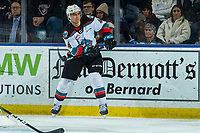 KELOWNA, BC - JANUARY 4: Devin Steffler #4 of the Kelowna Rockets completes a pass against the Vancouver Giants at Prospera Place on January 4, 2020 in Kelowna, Canada. (Photo by Marissa Baecker/Shoot the Breeze)
