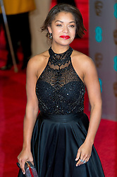 © Licensed to London News Pictures. 14/02/2016. London, UK. ANTONIA THOMAS arrives on the red carpet at the EE British Academy Film Awards 2016 Photo credit: Ray Tang/LNP