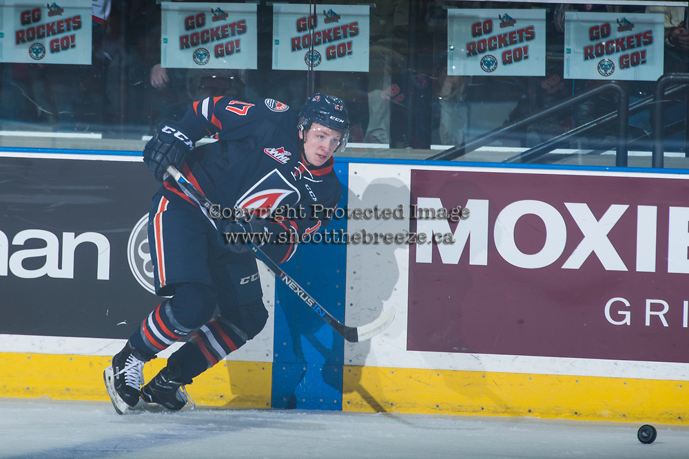 KELOWNA, CANADA - MARCH 25: Brodi Stuart #17 of the Kamloops Blazers passes the puck against the Kelowna Rockets on March 25, 2017 at Prospera Place in Kelowna, British Columbia, Canada.  (Photo by Marissa Baecker/Shoot the Breeze)  *** Local Caption ***