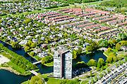 Nederland, Flevoland, Almere, 07-05-2015;  Filmwijk, Tourmaline toren (Rudy Uytenhaak Architectenbureau). <br /> Modern highrise in new town Almere.<br /> luchtfoto (toeslag op standard tarieven);<br /> aerial photo (additional fee required);<br /> copyright foto/photo Siebe Swart