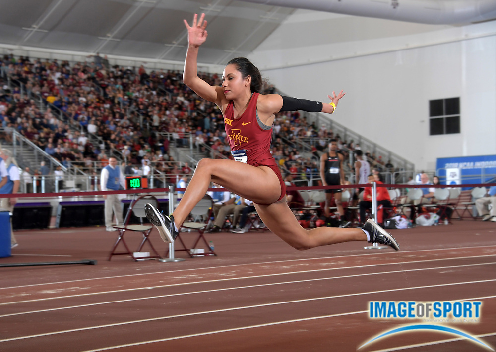 Mar 10, 2018; College Station, TX, USA; Jhoanmy Luque of Iowa State places fourth in the women's triple jump at 44-10 3/4 (13.68m) during the NCAA Indoor Track and Field Championships at the McFerrin Athletic Center.