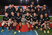 JOHANNESBURG, South Africa, 25 July 2015 : The World's best TEAM, the All Blacks with the Freedom Cup after the Castle Lager Rugby Championship test match between SOUTH AFRICA and NEW ZEALAND at Emirates Airline Park in Johannesburg, South Africa on 25 July 2015. Bokke 20 - 27 All Blacks<br /> <br /> © Anton de Villiers / SASPA