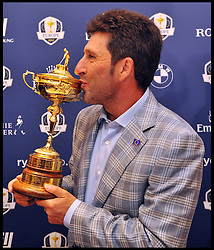 Ryder Cup Captain José María Olazábal, kisses the Ryder Cup after the victorious European Ryder Cup Team which retained the trophy in thrilling fashion at Medinah Country Club in Chicago on Sunday, give a press conference at  Heathrow's Sofitel Hotel, Tuesday October 2, 2012 Photo Andrew Parsons / i-Images..