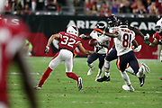 Arizona Cardinals free safety Tyrann Mathieu (32) returns an intercepted Chicago Bears pass early in the second quarter during the 2017 NFL week 2 preseason football game against the Chicago Bears, Saturday, Aug. 19, 2017 in Glendale, Ariz. The Bears won the game 24-23. (©Paul Anthony Spinelli)