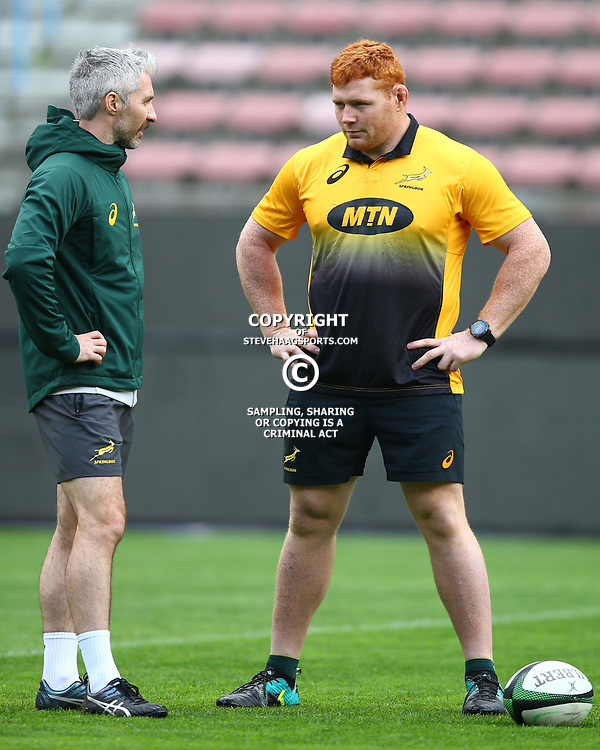 Aled Walters of South Africa with Steven Kitshoff of South Africa during the South African - Springbok Captain's Run at DHL Newlands Stadium. Cape Town.South Africa. 22,06,2018 23,06,2018 Photo by (Steve Haag JMP)