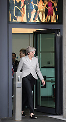 © Licensed to London News Pictures . 01/10/2017. Manchester, UK. Prime Minister THERESA MAY leaves the BBC in Salford after being interviewed for the Marr Show . The Conservative Party Conference at the Manchester Central Convention Centre . Photo credit: Joel Goodman/LNP