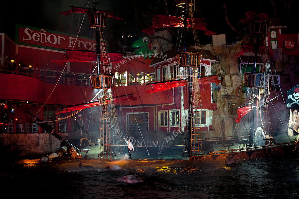 A pirate ship is sinking inside an artificial lake, as part of the daily shows organised by the Treasure Island Hotel, on The Strip, Las Vegas, Nevada, USA.