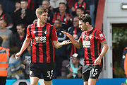 Goal - Chris Mepham (33) of AFC Bournemouth celebrates scoring a goal to give a 1-0 lead to the home team with Adam Smith (15) of AFC Bournemouth during the Premier League match between Bournemouth and Sheffield United at the Vitality Stadium, Bournemouth, England on 10 August 2019.