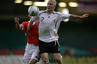 Photo: Rich Eaton.<br /> <br /> Wales v Germany. UEFA European Championships Qualifying. 08/09/2007. Germany's Bastian Schweinsteiger gets to the ball first.