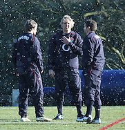 10 Feb 2010 Pennyhill Park, Bagshot, UK: Matthew Tait, Lewis Moody and Mark Cueto in discussion during the England rugby team training camp prior to the match against Italy. (Photo © Andrew Tobin www.slikimages.com)