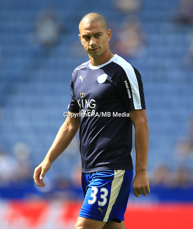 Leicester City's Gokhan Inler warms up before the Barclays Premier League match at the King Power Stadium, Leicester.