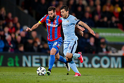 Sergio Aguero of Manchester City is challenged by Joe Ledley of Crystal Palace - Photo mandatory by-line: Rogan Thomson/JMP - 07966 386802 - 06/04/2015 - SPORT - FOOTBALL - London, England - Selhurst Park - Crystal Palace v Manchester City - Barclays Premier League.
