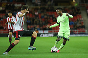 Manchester City midfielder Raheem Sterling during the Capital One Cup match between Sunderland and Manchester City at the Stadium Of Light, Sunderland, England on 22 September 2015. Photo by Simon Davies.