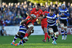 Edwin Maka of Toulouse is tackled in possession - Photo mandatory by-line: Patrick Khachfe/JMP - Mobile: 07966 386802 25/10/2014 - SPORT - RUGBY UNION - Bath - The Recreation Ground - Bath Rugby v Toulouse - European Rugby Champions Cup