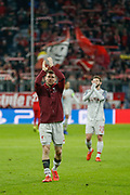 Liverpool midfielder James Milner (7) applauds the crowd after the Champions League match between Bayern Munich and Liverpool at the Allianz Arena, Munich, Germany, on 13 March 2019.