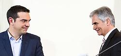 09.02.2015, Bundeskanzleramt, Wien, AUT, Staatsbesuch, Österreichischer Bundeskanzler empfängt griechischen Premierminister, im Bild v.l.n.r. Premierminister von Griechenland Alexis Tsipras und Bundeskanzler Werner Faymann (SPÖ) // f.l.t.r. prime minister of greece Alexis Tsipras and Federal Chancellor of Austria Werner Faymann during state visit of the prime minister of greece at federal chancellors office in Vienna, Austria on 2015/12/09, EXPA Pictures © 2015, PhotoCredit: EXPA/ Michael Gruber