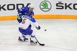 Leonid Metalnikov of Kazakhstan vs Robert Sabolic of Slovenia during Ice Hockey match between National Teams of Kazakhstan and Slovenia in Round #4 of 2018 IIHF Ice Hockey World Championship Division I Group A, on April 27, 2018 in Arena Laszla Pappa, Budapest, Hungary. Photo by David Balogh / Sportida