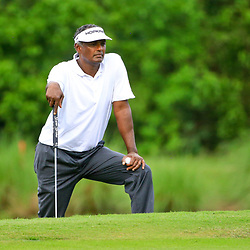 Apr 28, 2016; Avondale, LA, USA; Vijay Singh on the 16th hole during the first round of the 2016 Zurich Classic of New Orleans at TPC Louisiana. Mandatory Credit: Derick E. Hingle-USA TODAY Sports