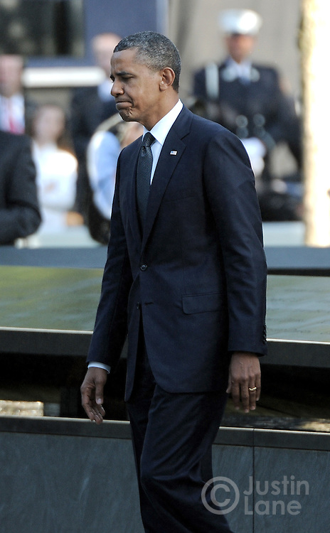 United States President Barack Obama walks past the North Pool of the 9/11 Memorial during tenth anniversary ceremonies at the site of the World Trade Center September 11, 2011, in New York. POOL/Justin Lane/EPA