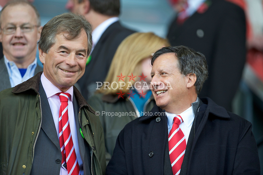 LIVERPOOL, ENGLAND - Sunday, October 24, 2010: Liverpool's former chairman Martin Broughton and co-owner Tom Werner during the Premiership match against Blackburn Rovers at Anfield. (Photo by David Rawcliffe/Propaganda)