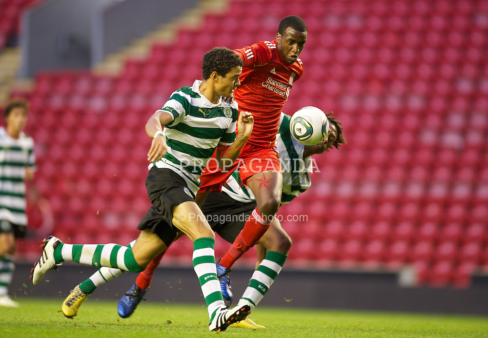 LIVERPOOL, ENGLAND - Wednesday, August 17, 2011: Liverpool's Michael Ngoo in action against Sporting Clube de Portugal during the first NextGen Series Group 2 match at Anfield. (Pic by David Rawcliffe/Propaganda)
