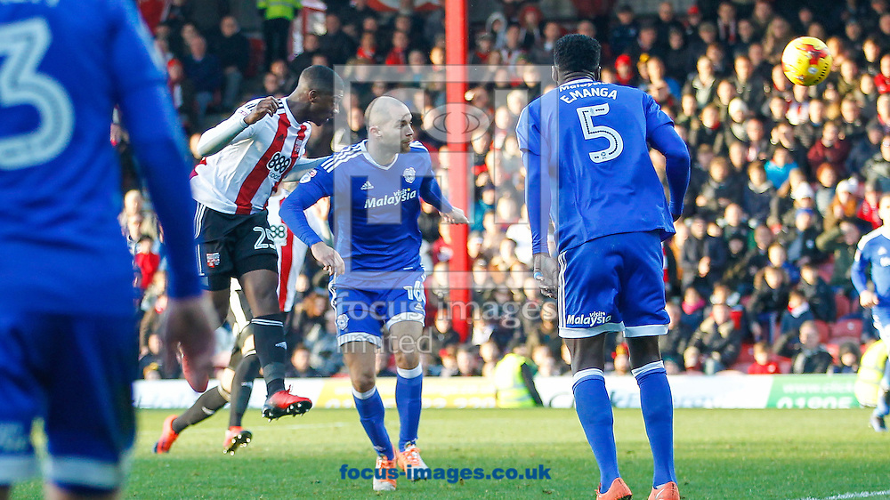 Sullay Kaikai of Brentford scores his second goal during the Sky Bet Championship match between Brentford and Cardiff City at Griffin Park, London<br /> Picture by Mark D Fuller/Focus Images Ltd +44 7774 216216<br /> 26/12/2016
