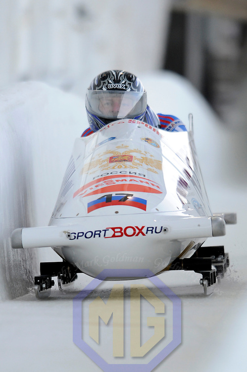 15 December 2007:   The Russia 1 sled driven by Alexandr Zubkov with Alexei Andrynin on the brakes competes at the FIBT World Cup Men's bobsled competition on December 15, 2007 at the Olympic Sports Complex in Lake Placid, NY.  The race was won by Pierre Lueders and Lascalles Brown in the Canada 1 sled.