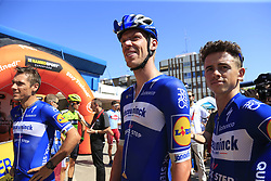 Philippe Gilbert, Tim Declercq (BEL) and James Knox (GBR)Deceuninck-Quick Step at sign on before the start of Stage 5 of La Vuelta 2019 running 170.7km from L'Eliana to Observatorio Astrofisico de Javalambre, Spain. 28th August 2019.<br /> Picture: Eoin Clarke | Cyclefile<br /> <br /> All photos usage must carry mandatory copyright credit (© Cyclefile | Eoin Clarke)