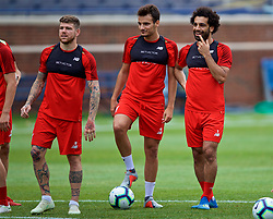 ANN ARBOR, USA - Friday, July 27, 2018: Liverpool's Alberto Moreno, Pedro Chirivella and Mohamed Salah during a training session ahead of the preseason International Champions Cup match between Manchester United FC and Liverpool FC at the Michigan Stadium. (Pic by David Rawcliffe/Propaganda)