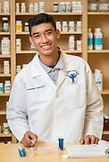 Jane Long Futures Academy student Estanislado Sandoval III poses for a photograph at the Houston Community College Coleman College for Health Sciences pharmacy technology labs, October 16, 2014.