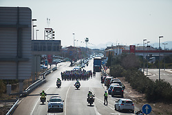The peloton approaches the second sprint during Stage 2 of the Setmana Ciclista Valenciana - a 115 km road race, between Castello and Vila-Real on February 23, 2018, in Valencia, Spain. (Photo by Balint Hamvas/Velofocus.com)