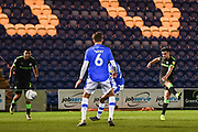 Forest Green Rovers Defender Liam Shephard (2) scores a goal (1-0) during the EFL Sky Bet League 2 match between Colchester United and Forest Green Rovers at the JobServe Community Stadium, Colchester, England on 12 March 2019.