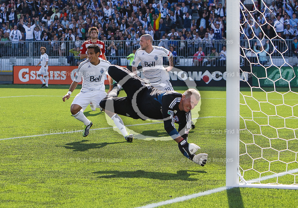 23 April 2011:   During a game between the Vancouver Whitecaps FC and FC Dallas on Bell Pitch at Empire Field on the Pacific National Exhibition Grounds in Vancouver, BC, Canada.   ****(Photo by Bob Frid - Vancouver Whitecaps) All Rights Reserved