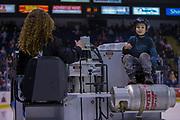 KELOWNA, CANADA - MARCH 10:  Orchard Park Zamboni Rider at the Kelowna Rockets game on March 10, 2018 at Prospera Place in Kelowna, British Columbia, Canada.  (Photo By Cindy Rogers/Nyasa Photography,  *** Local Caption ***