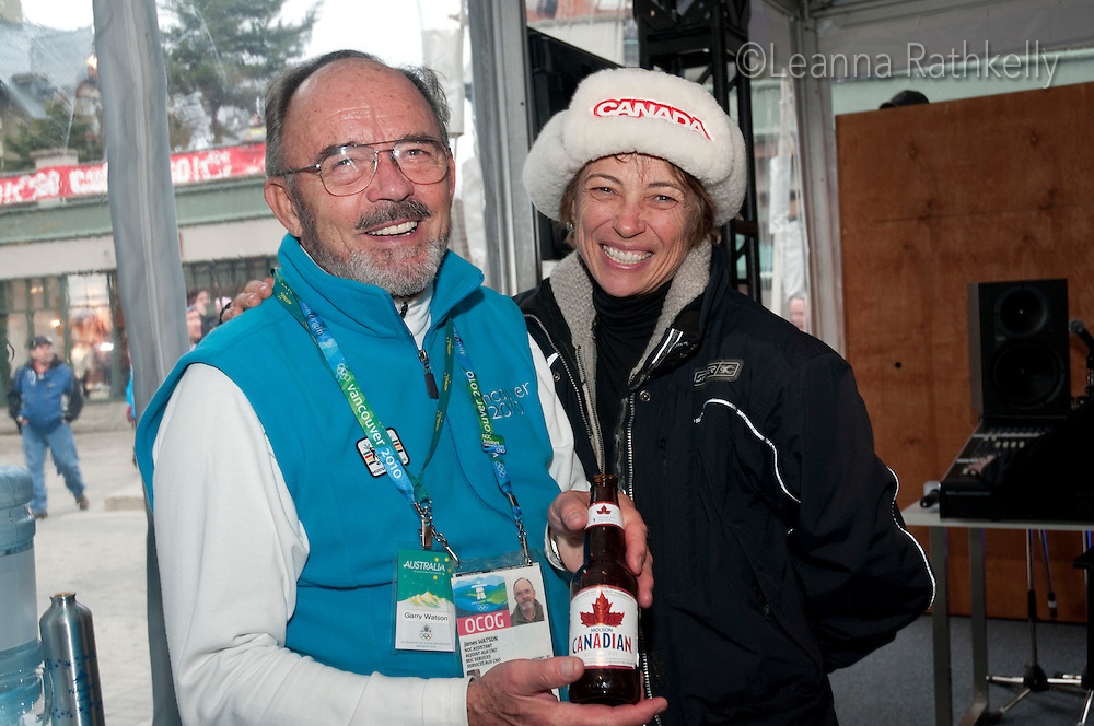 Garry Watson and Ann Popma smile during the 2010 Olympic Winter Games in Whistler, BC Canada.