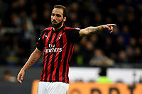 Gonzalo Higuain of AC Milan gestures during the Serie A 2018/2019 football match between Fc Internazionale and AC Milan at Giuseppe Meazza stadium Allianz Stadium, Milano, October, 21, 2018 <br />  Foto Andrea Staccioli / Insidefoto