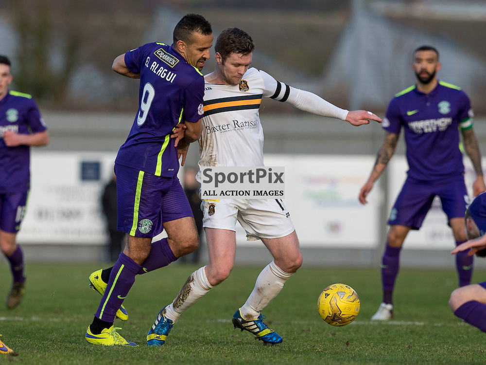 Dumbarton v Hibernian   SPFL season 2015-2016  <br /> <br /> `9 and Darren Barr (Dumbarton)  during the Ladbrokes Championship match between Dumbarton v Hibernian at Cheaper Insurance Direct Stadium on 27 February 2016<br /> <br /> Picture: Alan Rennie