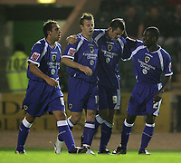 Photo: Lee Earle.<br /> Plymouth Argyle v Cardiff City. Coca Cola Championship. 12/09/2006. Cardiff's Steven Thompson (2ndR) is congratulated after scoring the opening goal.