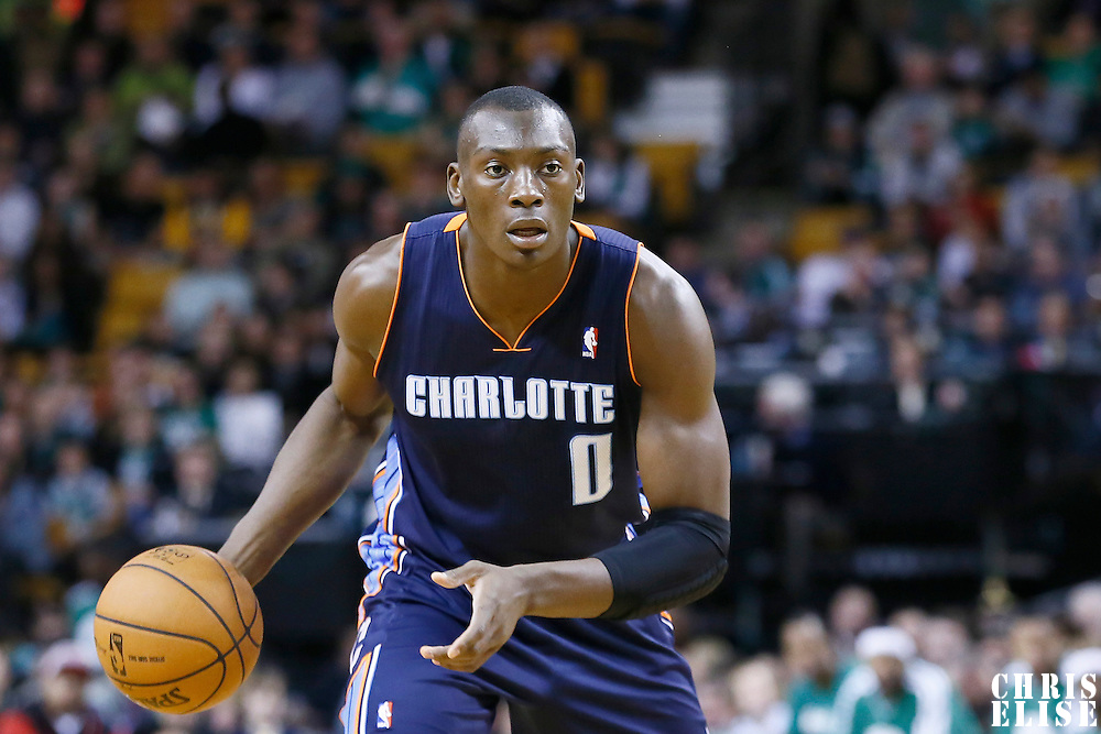 14 January 2013: Charlotte Bobcats power forward Bismack Biyombo (0) looks to pass the ball during the Boston Celtics 100-89 victory over the Charlotte Bobcats at the TD Garden, Boston, Massachusetts, USA.