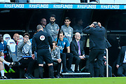 Newcastle United manager Rafael Benitez reacts as fourth official Kevin Friend sends Newcastle United first team coach Mijel Antia to the stand during the Premier League match between Newcastle United and Southampton at St. James's Park, Newcastle, England on 20 April 2019.