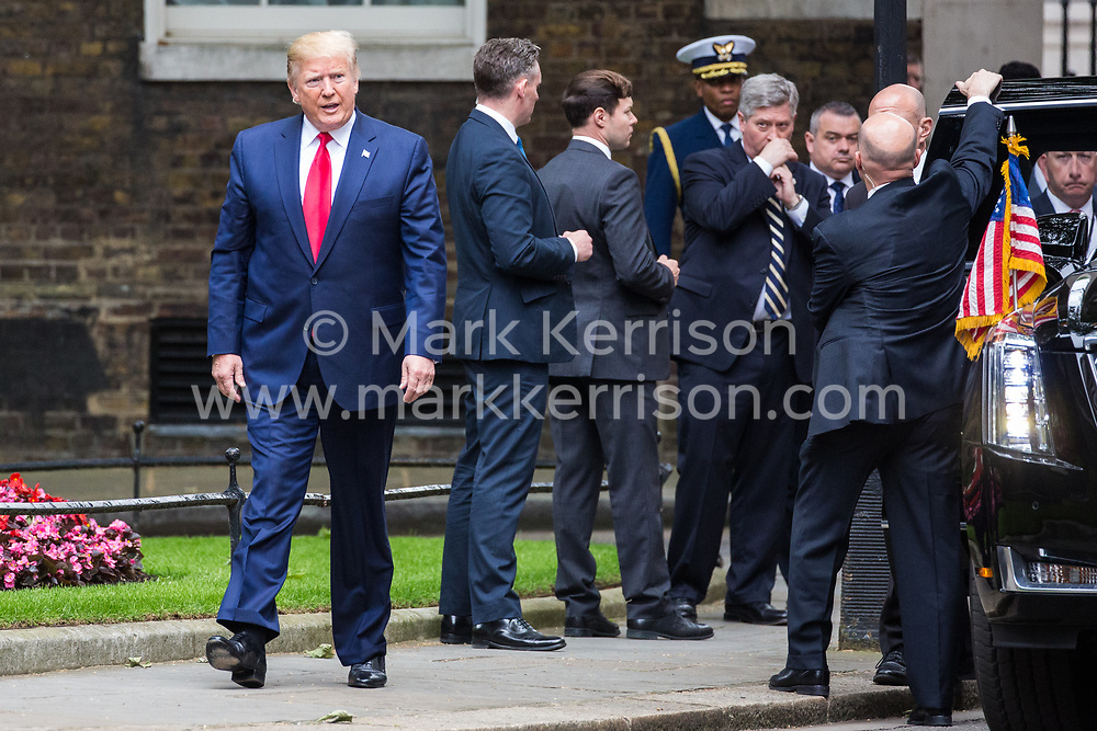 London, UK. 4 June, 2019. US President Donald Trump arrives in Downing Street to meet Prime Minister Theresa May on the second day of his state visit to the UK.